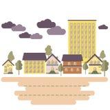 Vector la ciudad de la silueta del ejemplo con los edificios bajos, altos libre illustration