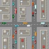 Vector la ciudad de la visión superior con los tejados de los edificios de oficinas, coches en el ejemplo de los caminos ilustración del vector