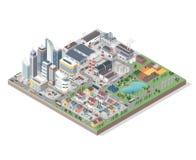 Vector la ciudad isométrica con los edificios, la gente y los vehículos