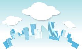 Vector la ciudad y la nube en vecto del fondo del cielo azul Fotografía de archivo libre de regalías
