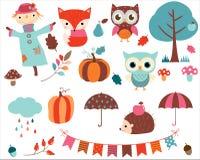 Vector la colección de animales de la historieta y de elementos del otoño Fotos de archivo libres de regalías