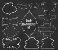 Vector la colección de banderas del estilo del contorno de la tiza, sistema dos libre illustration