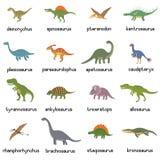 Vector la colección de dinosaurios planos lindos, incluyendo T-rex, Stegosaurus, Velociraptor, pterodáctilo, Brachiosaurus y fotografía de archivo