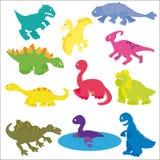 Vector la colección de diversas clases de dinosaurios lindos de la historieta Imágenes de archivo libres de regalías