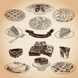 Vector la colección de iconos de la empanada, de las tortas y de los dulces Fotos de archivo libres de regalías