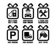 Vector la colección de iconos planos del regalo auto, símbolos del cuadrado del servicio del coche Imágenes de archivo libres de regalías