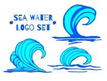 Vector la colección del ejemplo de ondas de agua azul de la mano, salpicaduras, iconos de las curvas aislados en el fondo blanco  ilustración del vector