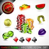 Vector la colección del icono en un casino y un tema.