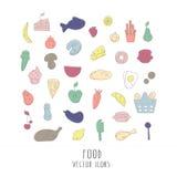 Vector la colección grande de la comida - fruta, verdura, pescado, carne, pasteles, etc Iconos planos del estilo aislados en el f Imagen de archivo libre de regalías