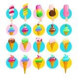 Vector la colección plana de cono de helado y de esquimal dulces sabrosos libre illustration
