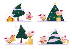 Vector la colección plana de duende feliz del cerdo de la Feliz Navidad en el árbol del Año Nuevo - suene la campana, lleve la ca libre illustration