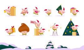 Vector la colección plana de duende feliz del cerdo de la Feliz Navidad - suene la campana, lleve la piruleta, presente la caja,  libre illustration