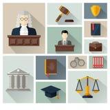 Vector la colección o el sistema de iconos de la ley y de la justicia Foto de archivo libre de regalías