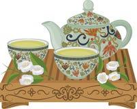 Vector la composición con la caldera y las tazas en el estilo asiático Imágenes de archivo libres de regalías