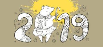 Vector la composición del cerdo feliz del esquema y de la mancha blanca /negra amarilla en el fondo beige en colores pastel Símbo Imágenes de archivo libres de regalías