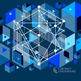 Vector la composición geométrica minimalistic del negro azul del extracto 3D Fotos de archivo