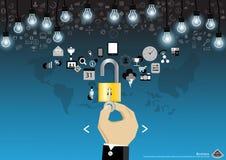 Vector la compressa mobile di tecnologia delle comunicazioni di affari e una chiave e padlock l'icona nella progettazione piana d Fotografia Stock Libera da Diritti