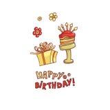 Vector la congratulazione della carta dei contenitori di regalo, del dolce con le candele e dei desideri dell'iscrizione su un fo Fotografie Stock