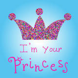 Vector la corona colorida romántica con título rosado en fondo azul Soy su princesa Para las camisetas impresión, caja del teléfo Foto de archivo libre de regalías