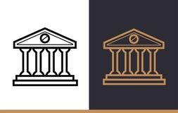 Vector la COSTRUZIONE di BANCA lineare delle icone della finanza, attività bancarie Alto qual Fotografie Stock