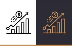 Vector la CRESCITA lineare delle icone di finanza, contante MOD di alta qualità Fotografia Stock Libera da Diritti