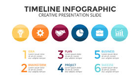 Vector la cronologia infographic, il grafico del diagramma, grafico dei cerchi Concetto di affari con 6 opzioni, parti, punti, pr Immagine Stock