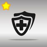 Vector la cruz plana de la salud del escudo del escudo médico del icono médica Imagen de archivo libre de regalías