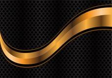 Vector la curva abstracta del oro en la malla de plata del círculo Imágenes de archivo libres de regalías