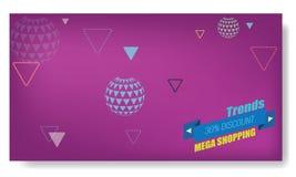 Vector la disposición abstracta creativa de la plantilla de Memphis Banner o del cartel Flecha brillante, cinta y otros elementos Fotografía de archivo