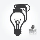 Vector la distorsión de la bombilla del concepto de la granada de idea Diseño Imagen de archivo libre de regalías