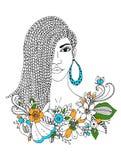 Vector la donna afroamericana del ritratto dello zentangl dell'illustrazione, il mulatto, negro Fotografie Stock Libere da Diritti