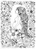 Vector la donna incinta nel telaio del fiore, lo scarabocchio, fiori dello zentangl dell'illustrazione dello zenart Libri da colo illustrazione di stock