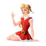 Vector la donna nel saluto e nell'ondeggiamento rossi dell'attrezzatura di Santa di Natale Immagini Stock