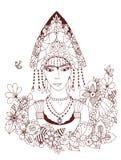 Vector la donna russa dello zentangl dell'illustrazione in costume nazionale Ritratto di scarabocchio, struttura floreale Anti sf illustrazione vettoriale