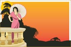 Vector la donna sulla veranda dell'hotel su un fondo esotico Fotografia Stock Libera da Diritti