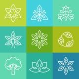 Vector la ecología y los logotipos orgánicos en estilo del esquema Fotos de archivo