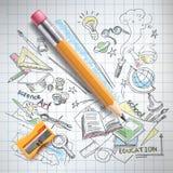 Vector la educación, concepto de la ciencia, lápiz, bosquejo stock de ilustración