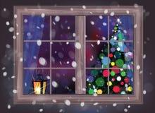 Vector la escena de la noche del invierno de la ventana con el árbol de navidad y lant Foto de archivo