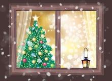 Vector la escena de la noche del invierno de la ventana con el árbol de navidad y lant Fotos de archivo libres de regalías