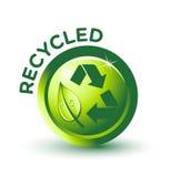 Vector la escritura de la etiqueta RECICLADA verde Fotografía de archivo libre de regalías