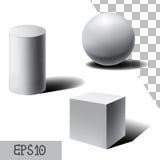 Vector la esfera 3D, el cubo y el cilindro blancos Con las sombras stock de ilustración