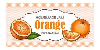 Vector la etiqueta de la naranja con el fondo de la acuarela y la frontera coloreada Fotos de archivo libres de regalías