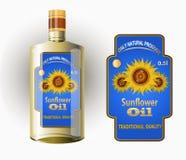 Vector la etiqueta para el aceite de girasol refinado con el girasol Imagen de archivo libre de regalías