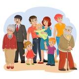 Vector a la familia feliz - bisabuelo, bisabuela, abuelo, abuela, papá, mamá, hija, hijo y bebé ilustración del vector