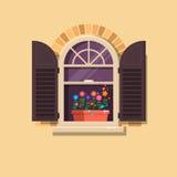 Vector la finestra con gli otturatori ed i vasi da fiori marroni su un muro di mattoni Elemento della casa del fumetto Immagini Stock