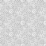 Vector la flor cruzada del papel 3D del damasco del arte del modelo de la estrella inconsútil del fondo 040 stock de ilustración