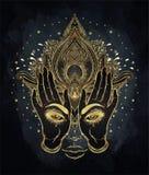 Vector la flor de Lotus ornamental, todo-viendo el ojo, indio modelado stock de ilustración