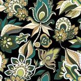 Vector la flor del garabato y el modelo de onda abstractos inconsútiles Foto de archivo libre de regalías
