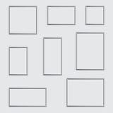Vector la foto o el marco de plata en diversos proporciones y tamaños stock de ilustración