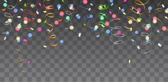 Vector la frontera colorida brillante con confeti y flámulas que caen stock de ilustración